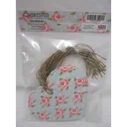 New Pink Flower Heart Shaped Gift Tags With String Pk12