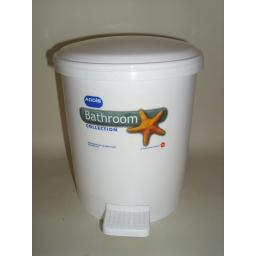 New Addis Bathroom Small Waste Pedal Bin White Plastic 9872 3Ltr