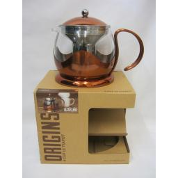 New La Cafetiere Origins Teapot Tea Pot Copper 1200ml 4Cup Infuser For Loose Tea