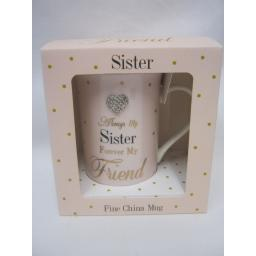 New Lesser And Pavey Fine China Mug Coffee Tea Diamante Always My Sister LP33668