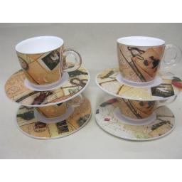 New Plexart Omada Espresso Cups And Saucers Pk4 Caffe Old Memories M6064PA003