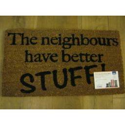 New JVL PVC Backed Novelty Coir Door Mat Doormat The Neighbours Have Better Stuf