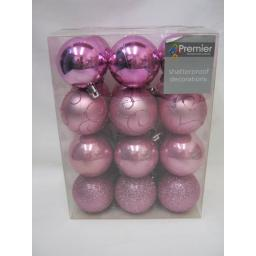 New Premier Christmas Tree Decoration Baubles 60mm Pink Multi Finish Pk24