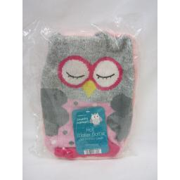New Country Warmers Covered Hot Water Bottle Cover Pink And Grey Knitted Owl