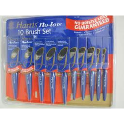 New Harris No Bristle Loss Paint Gloss Brushes 10 Brush Set