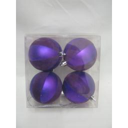 New Christmas Tree Decoration Baubles Shatterproof Pk 4 x 70mm Purple Swirl