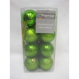 New Premier Christmas Tree Decoration Baubles Shatterproof Pk 16 x 50mm Green