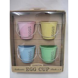 New Eddingtons Bucket Style Enamel Boiled Egg Cup Cups Set Four 4 Pastel 83022