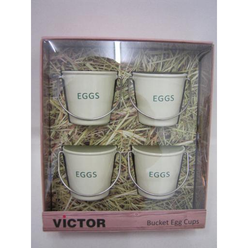 New Victor Bucket Style Enamel Boiled Egg Cup Cups Set 4 Cream TA240E