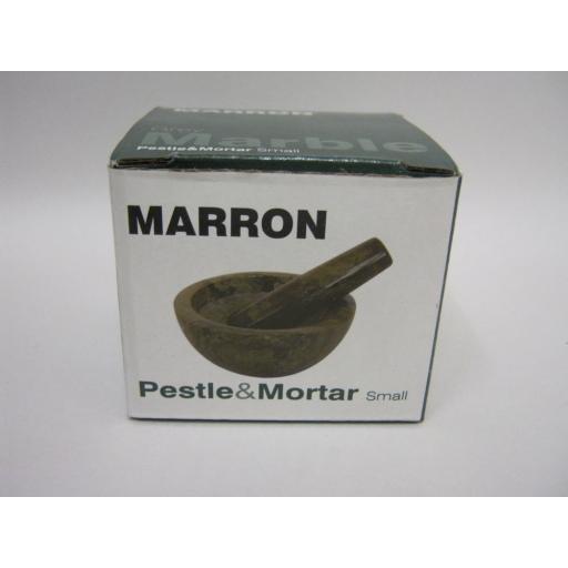 New Marron Black / Grey Marble Mini Pestle And Mortar 7cm x 3.5cm MA220M