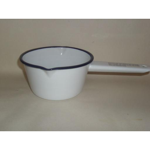 New Falcon Enamel Milk Pan 14cm Saucepan White