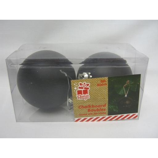 New Festive Magic Christmas Tree Decoration Baubles Chalkboard 80mm Pk 2 Black