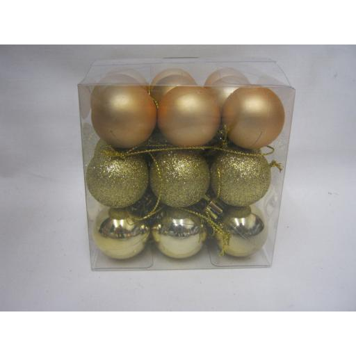 New Christmas Tree Decoration Mini Baubles Shatterproof Pk 27 x 25mm Gold