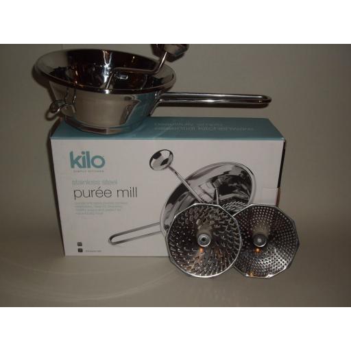 New Kilo Stainless Steel Mouli Food Blender Puree Mill 18cm HA10 Large