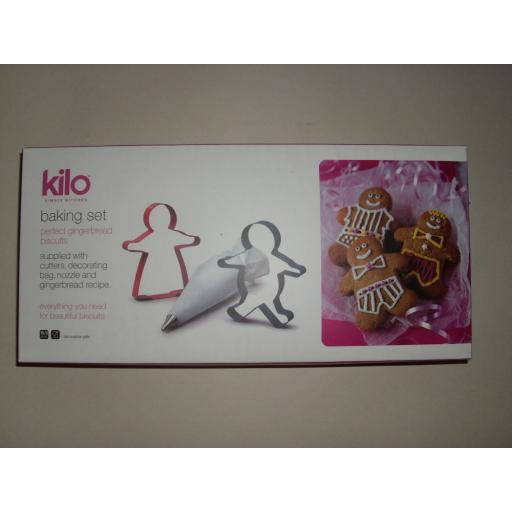 New Kilo Childs Kitchen Cooking Utensil Baking Gingerbread Cookie Icing Set