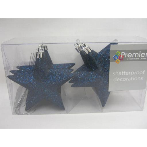 New Premier Christmas Tree Decoration Stars Glitter TD126378MB 100mm Pk6 Blue