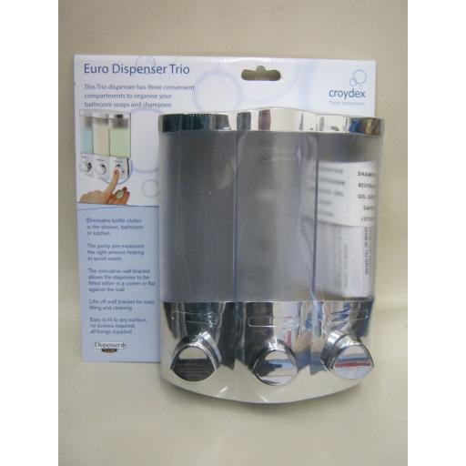 New Croydex Euro Liquid Soap Shampoo Dispenser Trio Chrome PA661041