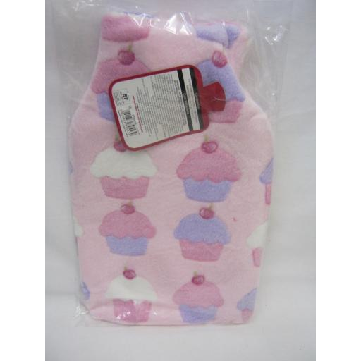 New Covered Hot Water 2Ltr Rubber Bottle Fleece Cover Pink Cup Cakes Design