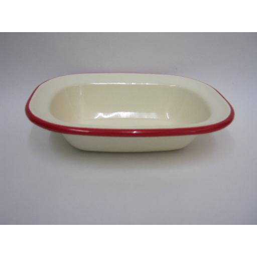 New Victor Cream Enamel Oblong Pie Baking Dish Tin With Red Trim 16cm EN230R