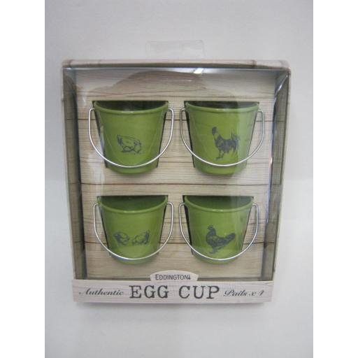 New Eddingtons Bucket Style Enamel Boiled Egg Cup Cups Set 4 83021 Roosters Hens