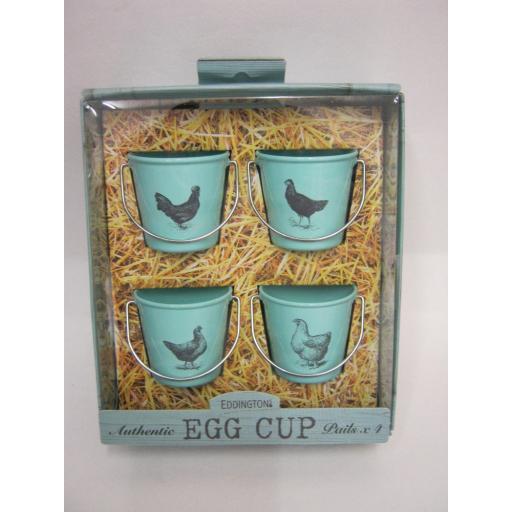 New Eddingtons Bucket Style Enamel Boiled Egg Cup Cups Set 4 83021 Vintage Hens