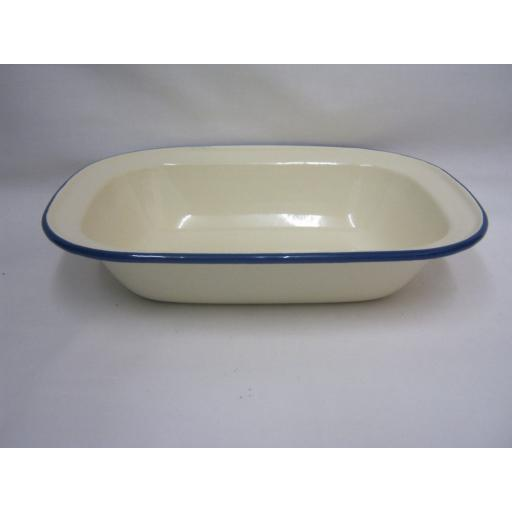 New Victor Cream Enamel Oblong Pie Baking Dish Tin 24cm With Blue Trim EN236BL