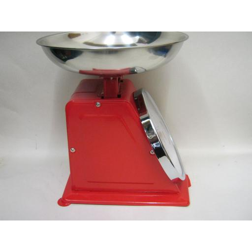 New Hanson Traditional 500 Kitchen Weighing Scales Chrome Pan Red