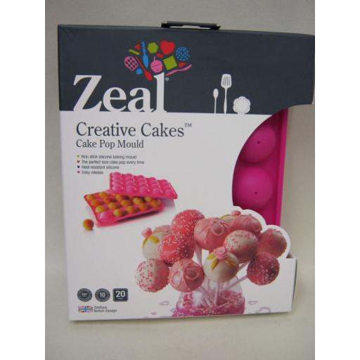New Zeal Creative Cakes Non Stick Silcone Baking Cake Pop Mould NB48 Pink