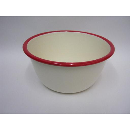 "New Victor Cream Enamel Pudding Basin With Red Trim 16cm 6 1/4"" EN430R"