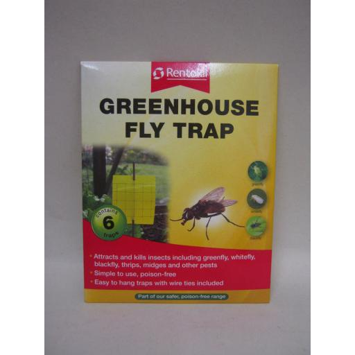 New Rentokil Greenhouse Sticky Fly Trap Contains 6 Traps Kills Blackfly Greenfly