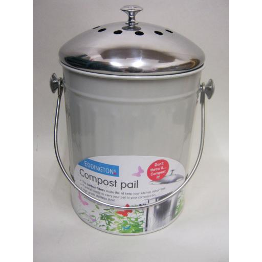 New Eddingtons Deluxe Enamel Compost Bin Pail Bucket Cream Charcoal Filter