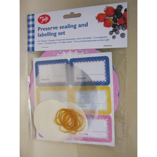 New Tala Jam Pot Covers Preserve Sealing labels Set 1lb Pots Jars Border Design