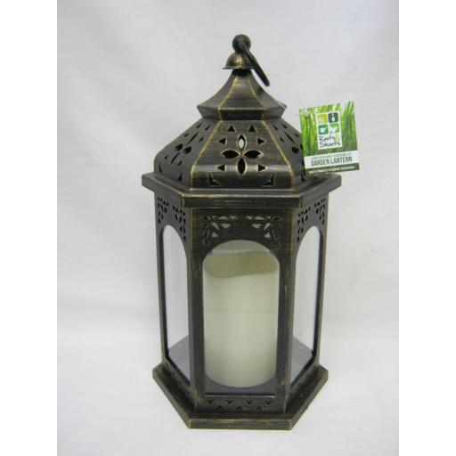 New PMS Battery Operated LED Hanging Hexagonal Lantern 957084 Antique Bronze