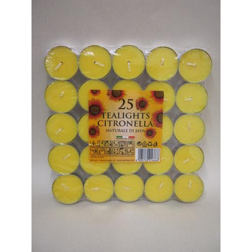 New Citronella Tealights Candles Fragranced Tea Lights Pk 25