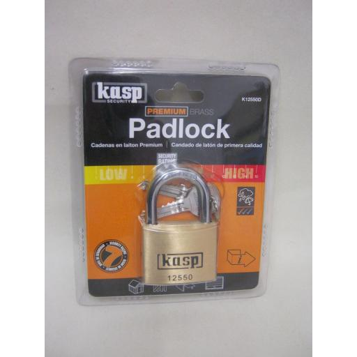 New Kasp Security 7 Premium Brass Padlock K12550D 125 Series