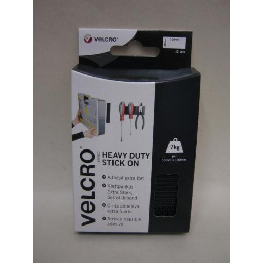 New Velcro Heavy Duty Stick On Strips 50mm x 100mm Black 60239