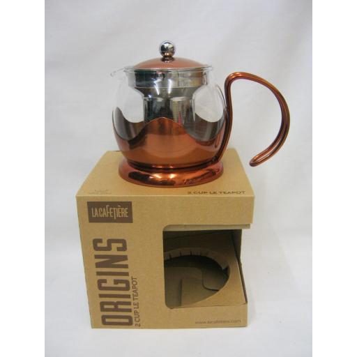 New La Cafetiere Origins Teapot Tea Pot Copper 600ml 2 Cup Infuser For Loose Tea