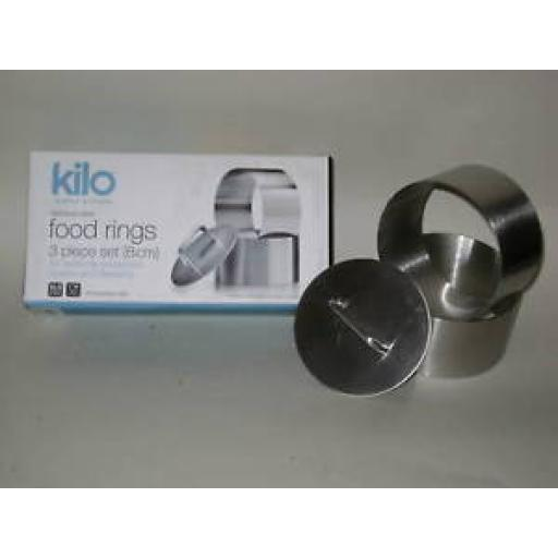 New Kilo Stainless Steel Food Rings 3 Piece Set 8cm Plunger J332 Set x 3
