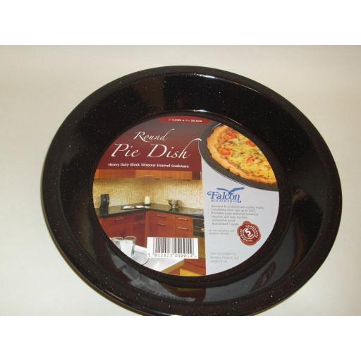 New Falcon Enamel Round Pie Baking Dish Plate Tin 25.5cm Black