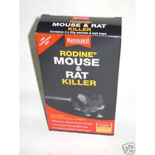 New Rentokil Mouse And Rat Killer Bait Rodine 3 x 50g poison