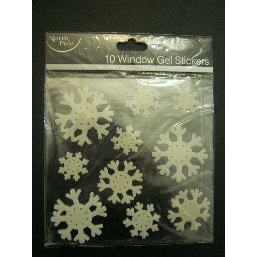 New North Pole Snowflake Window Gel Stickers Pk10 Peel And Stick
