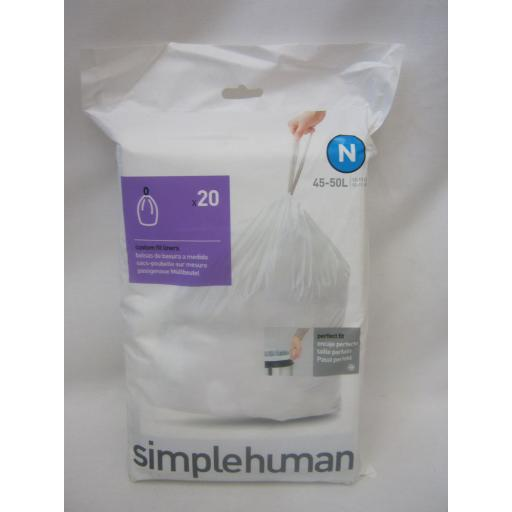 New Simplehuman Pedal Bin Custom Perfect Fit Liners 45-50L Size N Pack 20