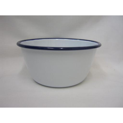 "New Falcon White With Blue Trim Enamel Pudding Basin 16cm 6 1/4"""