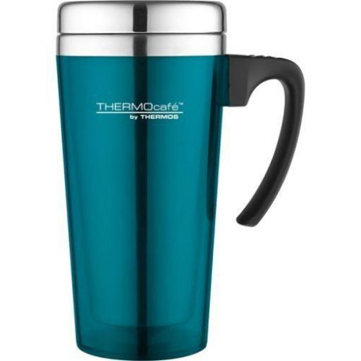 New Thermos Thermocafe Zest Travel Mug Beaker Cup 0.42L Lagoon Green/Blue