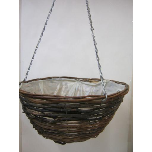 "New Brown Wicker Willow Hanging Basket With Chain 15"" 38cm"