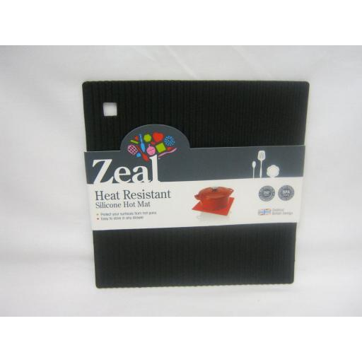 CKS Zeal Heat Resistant Silicone Kitchen Hot Mat Square Trivet J238 Black 18cm