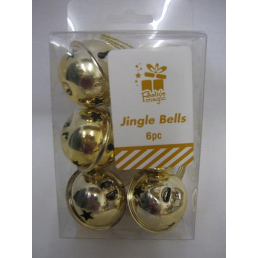 New Festive Magic Christmas Tree Decoration Jingle Bells Baubles 40mm Pk6 Gold