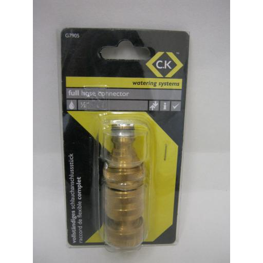 "New CK Watering Systems Full Hose Connector 1/2"" Brass G7905"