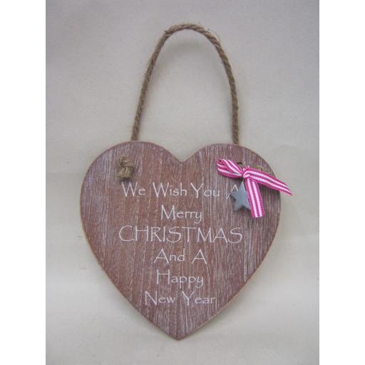 New Wooden Heart Plaque We Wish You A Merry Christmas And A Happy New Year