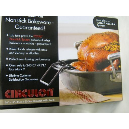 New Circulon Oblong Roaster Roasting Dish And Rack Non Stick 41cm x 30.5cm